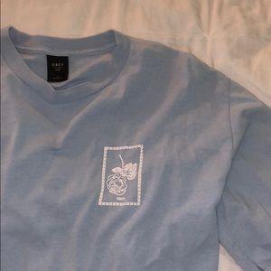 """light blue long sleeve """"obey"""" shirt"""